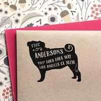 Custom Address Stamp - Pug Custom Return Address Stamp, customized gift for holidays, housewarming and weddings, school