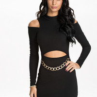 Black Cutout Bodycon Dress With Gold Chain