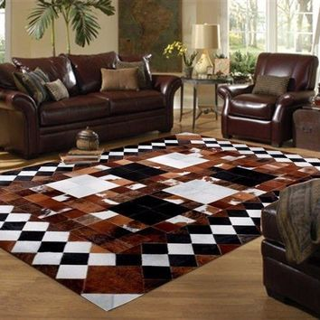 Natural Cowhide Leather Patchwork Rug Size 5x7 Feet