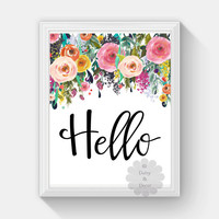 hello saying printable wall art nursery playroom print home decor watercolor floral wall art print art quote typography poster print floral