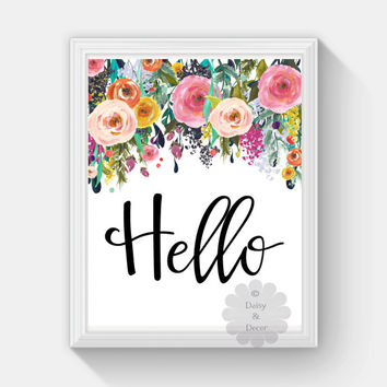 Hello Saying Printable Wall Art Nursery From Daisyanddecor On