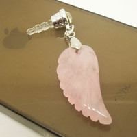 1PC Natural Rose Quartz Wing Cell Phone Headphone Earphone Jack Antidust Plug Charm for iPhone 4s,5,5c,5s, Samsung, HTC, Nokia Friend Gift