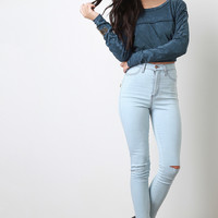 Distressed High Waisted Knee Slit Skinny Jeans