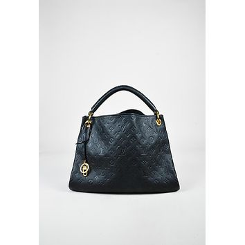 Tagre™ Louis Vuitton Black Monogram Empreinte Leather Artsy MM Hobo Bag,leather bag stylish Soft Bohemia new arrivals