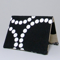 Mini Wallet - Black Pearl Bracelet & Mustaches - Small Credit Business Card Holder