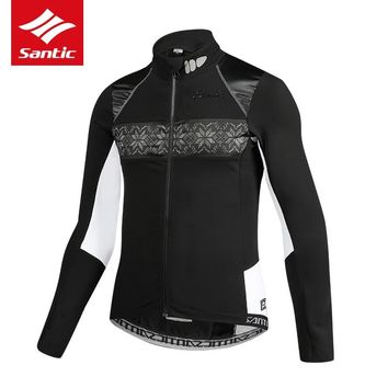 Santic Men Cycling Jacket Autumn Winter Fleece Thermal BIke Bicycle Jacket Long Sleeve Tour De France Jacket Maillot Ciclismo