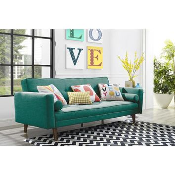 Mid Century Green Linen Novogratz Vintage Futon | Overstock.com Shopping - The Best Deals on Futons
