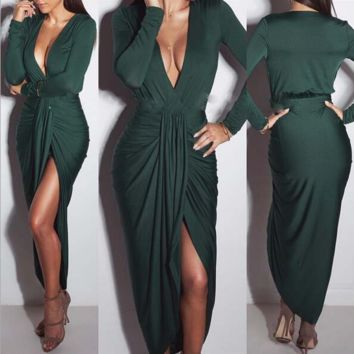 V Neck Long Sleeve Night Club Dress B0015426