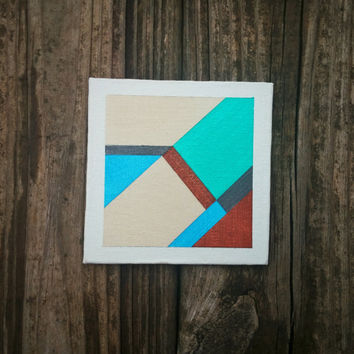 Geometric Wall Art Modern Tiny Canvas Contemporary Painting Abstract Original Acrylic Home Decor OOAK Fine Art