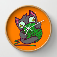 Kitty and Yarn Wall Clock by Artistic Dyslexia