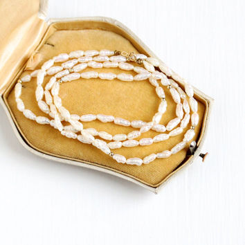Vintage Genuine Cultured Rice Pearl Single Strand 30 Inch Necklace - 1980s Off White Gem 14k Yellow Gold Clasp Bridal Wedding Fine Jewelry