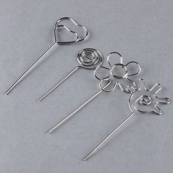 Kawaii Sliver Wire Clip Flower Heart Shape Craft Paper Card Note Photo Memo Holder Clips Desk School Office Accessories