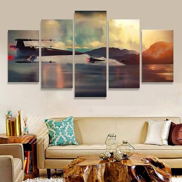 Canvas Painting Star Wars Poster Wall Art Painting For Living Room Wall 5 Panel Pop Art Poster Living Room Wall Decor