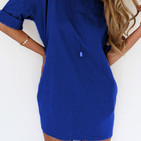 Half Sleeve Drop Shoulder Chiffon Mini Dress