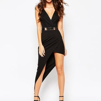NaaNaa Plunge Neck Sleeveless Belted Pencil Dress With Asymmetric Wrap Skirt