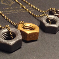 Nuts and Bolts Necklace // Men's Jewelry Hardware Industrial Steampunk Jewelry  //Unisex Necklace // Resin bolt pendant // Gift Idea for him