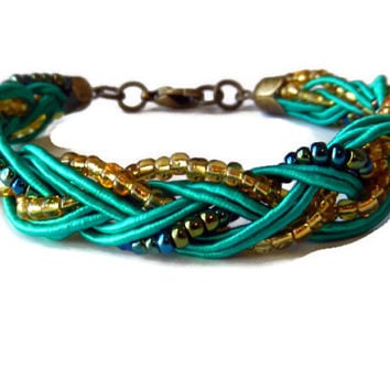 Green, Gold and Purple/Blue Braided Bracelet