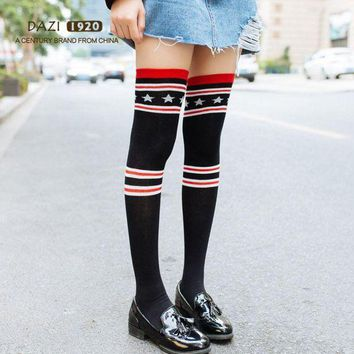 CREYWA2 2018 New Fashion Japanese High Stockings Women Over Knee Socks Black Stripe Star
