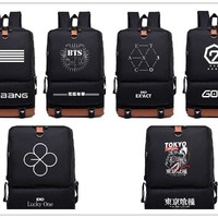 Kpop Bts Got7 Exo Twice Monsta x infinite Fashion nylon Schoolbag Backpack Satchel bag
