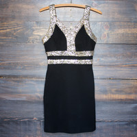 moonlit gold sequin party dress, black body con