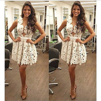 2014 New Fashion Sexy Women Lace Floral Sleeveless  V-neck Ball Gown Mini Dress  Party Dress = 1946620228
