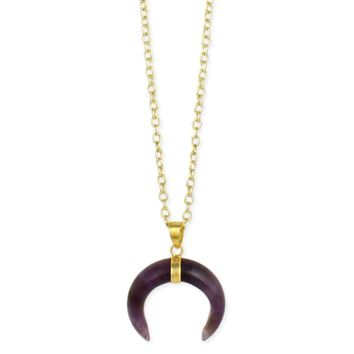 Gold & Amethyst Double Horn Gold Necklace