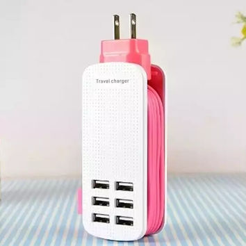 6-Port Charging Station USB Wall Charger Desktop Hub Portable Travel Charger Fast Charger