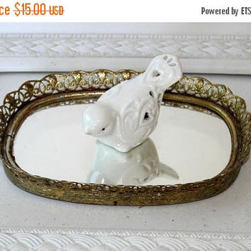 """ON SALE Small Oval Vintage Makeup Tray , Small Perfume Tray 8"""" x 5.5"""" , Mirrored Vanity Tray Filigree Edges Gold Tone , For Small Spaces"""