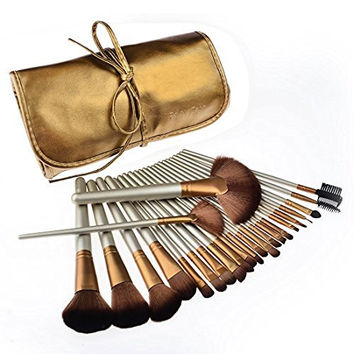 Makeup Brushes, PeleusTech 24pcs Cosmetics Brushes Set Synthetic Kabuki Professional Brush Kit Cream Contour Face Powder, Foundation, Eyeshadow, Lip Brushes with PU Leather Case-Golden