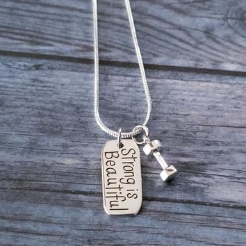 Sterling Silver Strong Is Beautiful Dumbbell Necklace