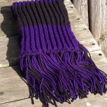 Knitted Scarf - Fan Scarf - Baltimore Fan Scarf - Purple and Black - 6 ft