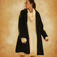 Winter Cape Coat in Black, Wool Cape, Wool Cloak, Wool Long Coat
