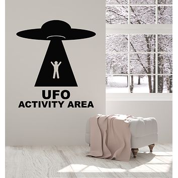 Vinyl Wall Decal UFO Activity Area Resident Alien Space Fantasy Stickers Mural (g2989)
