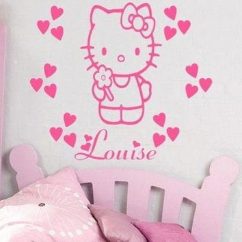 Hello Kitty Wall Stickers Names Personalized Girl Nursery Wall Decor Vinyl Removable Wall Stickers for Princess Bedroom ZA045