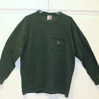 Vintage // Tommy Hilfiger // Long Sleeve T-Shirt // Made in USA // Crew Neck // Green // Medium