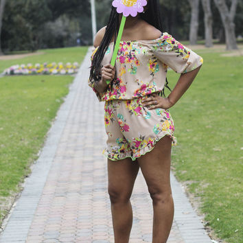 Cold Shoulder Floral Romper: Taupe