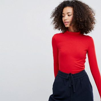 Monki Roll Neck Long Sleeve Top at asos.com
