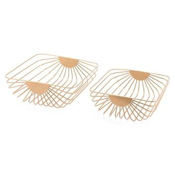 A10727 Set Of 2 Wired Trays Gold Gold