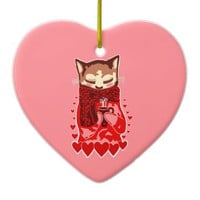 Cozy Cat & Red Hearts Pink Heart Ornament