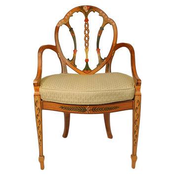 Edwardian Hand-Painted Chair, Pale Green, Accent & Occasional Chairs
