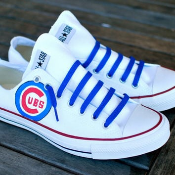 58abd4f9216a Custom Hand Painted Converse-- Chicago Cubs on Chuck Taylor All