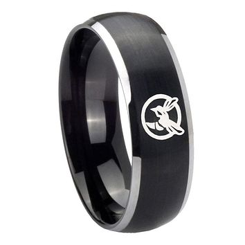 8mm Honey Bee Dome Brushed Black 2 Tone Tungsten Carbide Mens Anniversary Ring