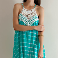 Tie-Dye Print Halter Dress - Mint