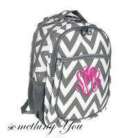 Monogrammed Pewter Grey HEAVY DUTY Chevron Personalized Laptop Backpack -  Large Girls Zig Zag Striped High Middle School Computer Gray