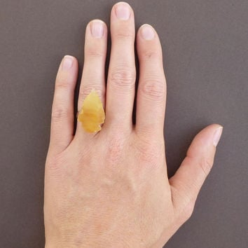 yellow jasper gemstone arrowhead ring