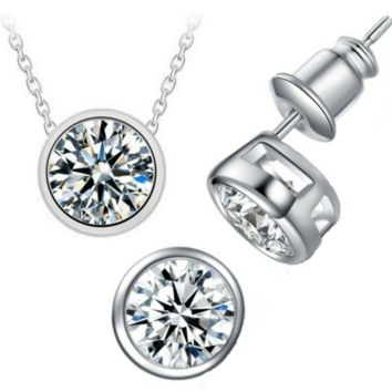 CLEARANCE - Bezel Duo 2CT IOBI Crystals Matching Necklace and Earrings Set