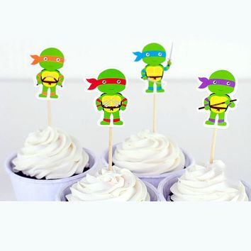 Happy Birthday Party Ninja Turtles Theme Kids Boys Favors Baby Shower Decorate Fruit Cake Cartoon Toppers Cupcake Sticks 24pcs