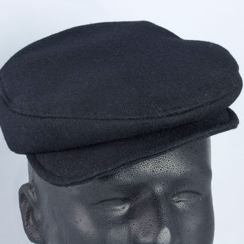 Black Wool Flat Cap | British Driving Cap | 1920s Drivers Cap Newsboy Scally Cap