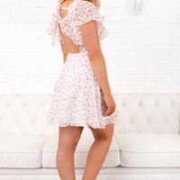 Carry Me Home Floral Print Dress (White)