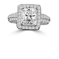 2 CT. intensely Radiant Diamond Veneer Emerald Shape, Halo Micro-pave Settings Sterling silver Vintage Style Ring. 635R12825